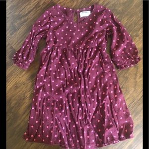 Girls Old Navy burgundy dress with dots